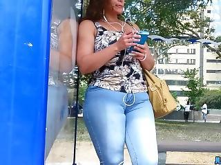 Big Jeans Ass Smoking At The Bus Stop