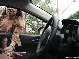 Busty Latina Gives A Defy Handjob Through Auto Window With Public