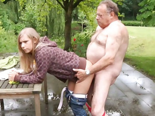 Fatt coupled with ugly oldman does a naive teenager blonde
