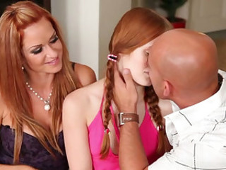 Amazing Daddy Daughter Family Kissing Mature Mom Old and Young Pigtail Redhead Teen Threesome