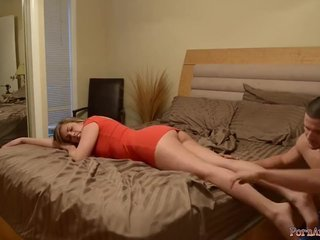 Amateur Drunk Family Feet Legs Massage Mom Old and Young
