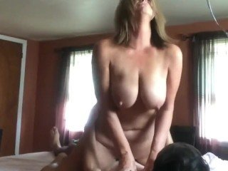 Amateur Family Mature Mom Old and Young Riding