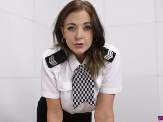 Lecherous hottie in police uniform Sapphire masturbates her pussy on the table
