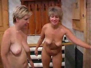 Old babes have naked time around the house