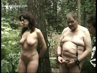 Sultry slave likely to tree gets pulled on her spectacular tits and gets hit on her cunt with a stick and hands
