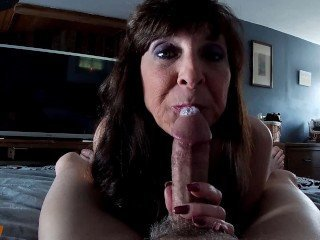 MILF Sucks and Jerks Then Licks Cum Off Spent Cock POV