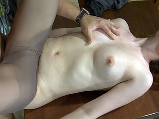 Fiery gal getting nailed on the kitchen table right in her control top hose