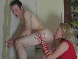 In excess of fooling with a strap-on toff strips stripped giving his a-hole to his mistress