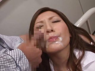 Sometimes I like to play kinky games with my nurse, life in the hospital can be very boring. Luckily Yuna, a beautiful brown haired nurse is always willing to play with me. This time I putted her to pee on the bed and then grab her by the hair, masturbate and cum on her pink lips. She likes the taste of jizz a lot!