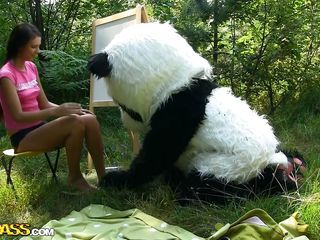 Mr. Panda is outside there the to the core nature and the thin brunette chick that's with him wants to prove him what an artist she is. Well, she may not recoil consenting at painting but she definitely knows no matter how to make him nick by sucking his big panda cock. Stay with them and enjoy the boondocks of the forest and much more