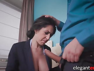 Busty businesswoman sucks and fucks big cock here anal office