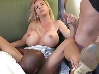 Big Tits Handjob Interracial Licking  Natural Silicone Tits Threesome