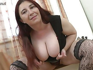Amazing Big Tits Chubby Facial Mature Natural Stockings