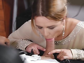 Busty post colleague Nikky Dream gives stud blowjob at wor