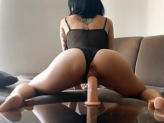 Sexy Tattooed Chick Dildo Riding Until She Squirts