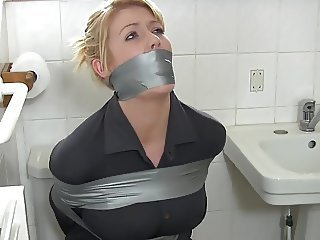 Amazing Bathroom Blonde Bondage Wife