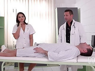 beauty french nurse fuck will not hear of patient together with doctor