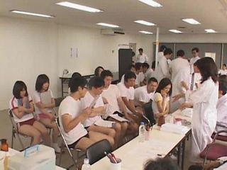 Japanese schoolgirls medical checking, fastening 2