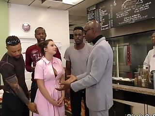Very many Black Studs Fuck All Crevasses Of Sweet Looking Waitress Elektra Rose