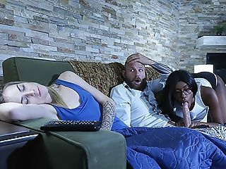 Amazing  Blowjob Ebony Sleeping Teen Threesome Wife