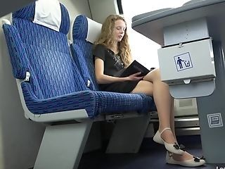 Woman In Pantyhose On The Train