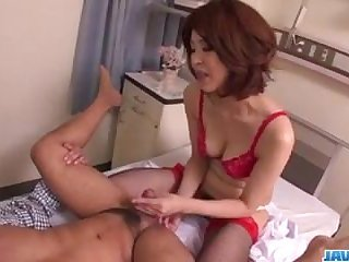 Hardcore sexual intercourse with milf in red lingerie, Erika Nishino