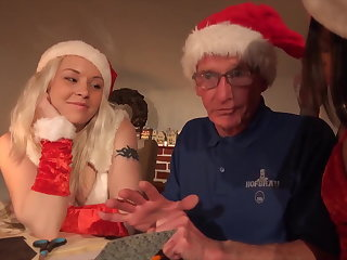 Xmas knockers hardcore fuck for grandpa from 2 young girls