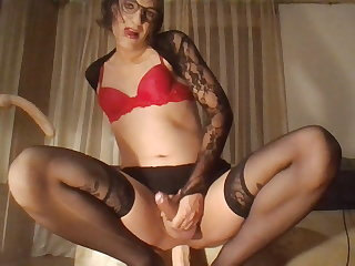 cd crossdresser sissy dildo fun